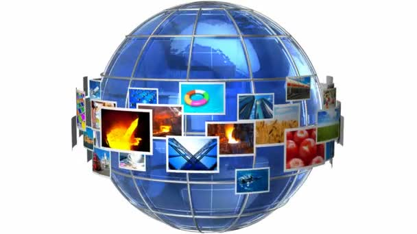 Telecommunication and media technologies concept: rotating cloud of colorful photos around blue glass Earth globe isolated on white background