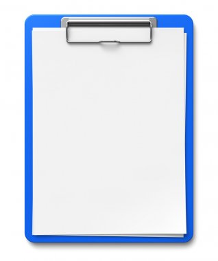 Business office concept: clipboard with blank sheets of paper isolated on white background stock vector
