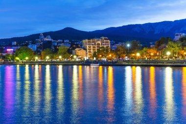 Evening panorama of Yalta, Crimea, Ukraine