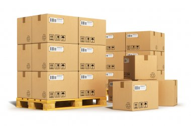 Creative abstract cargo, delivery and transportation logistics storage warehouse industry business concept: group of stacked corrugated cardboard boxes on wooden shipping pallets isolated on white background stock vector