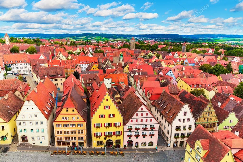 Фотообои Aerial panorama of Rothenburg ob der Tauber, Germany