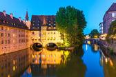 Fotografie večerní scenérie v Norimberku, Německo