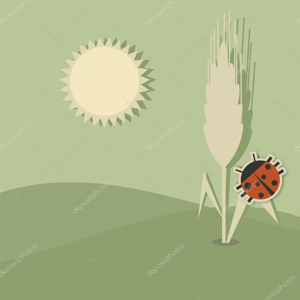 Ears of wheat and ladybug
