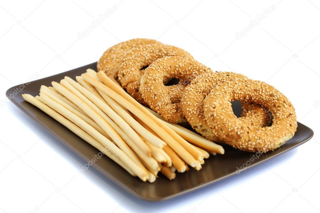 Round rusks and bread sticks — Stock Photo © ruzanna #26829983