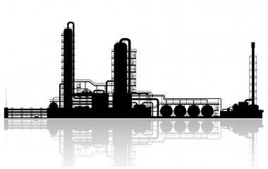 Oil Refinery Plant Silhouette