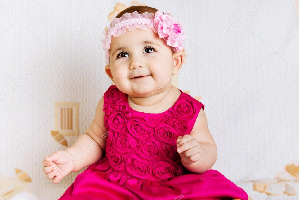 Cute Baby Girl In Pink Dress Stock Photo Petrograd99 22283953