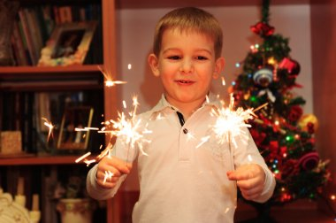 Cheerful boy watching sparklers