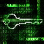 Fotografie Sicherheitsschlüssel und Binärcode