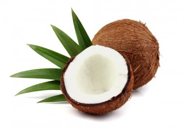 Sweet coconut with leaves
