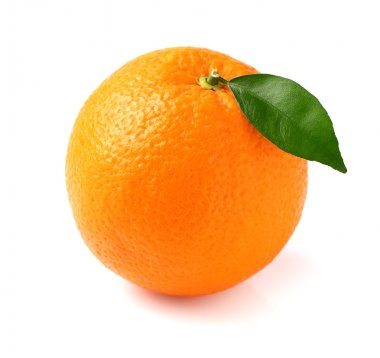 Fresh orange fruit with leaf