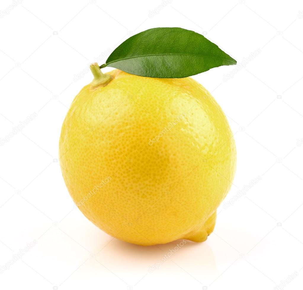 Juicy lemon with leaf