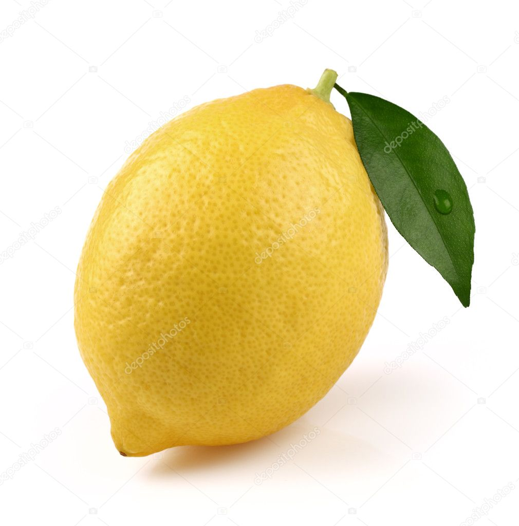 One ripe lemon in closeup