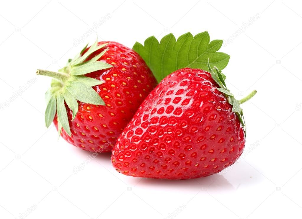 Strawberry with leaf