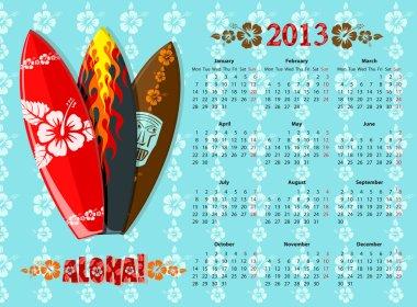 Vector blue Aloha calendar 2013 with surf boards