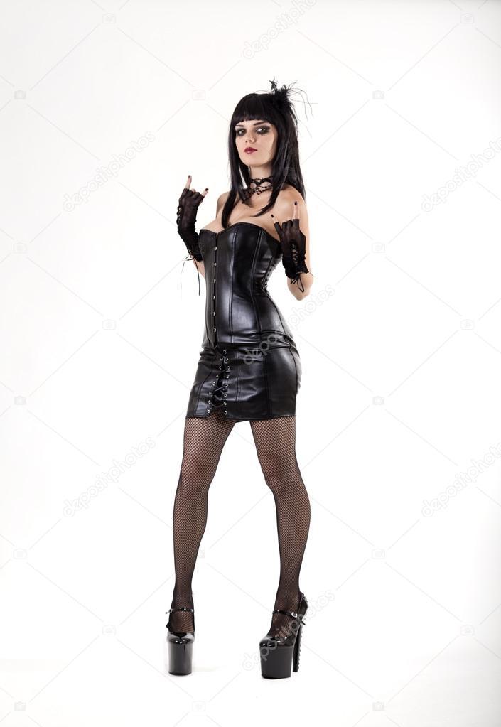 gothique femme en tenue sexy en cuir photographie. Black Bedroom Furniture Sets. Home Design Ideas