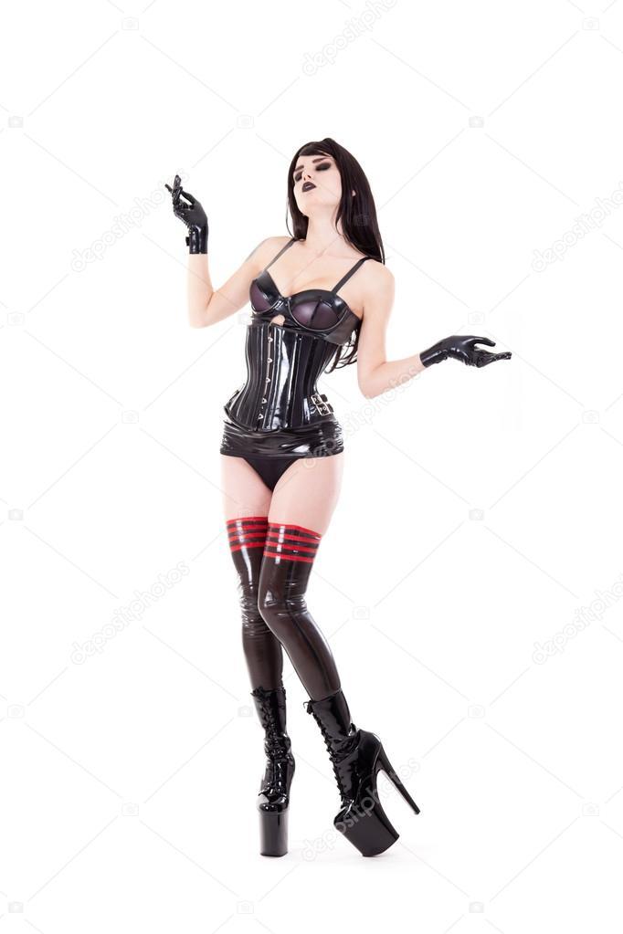 femme sexy en tenue en latex et bottes talons hauts photographie elisanth 43295171. Black Bedroom Furniture Sets. Home Design Ideas
