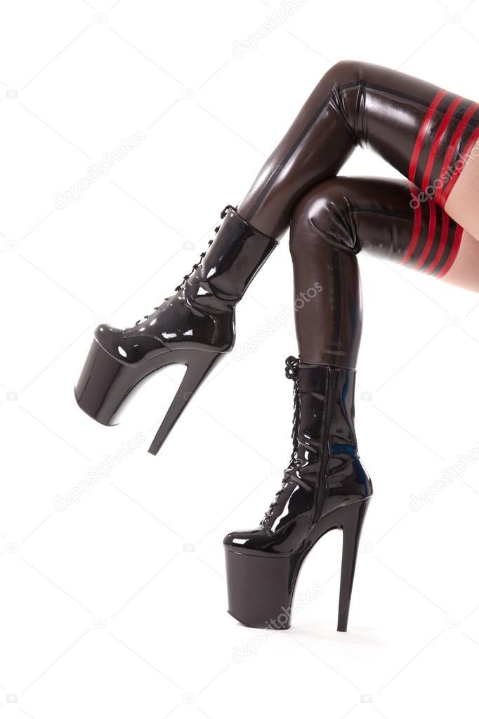76bfd688a Sexy mujeres piernas largas en las medias y botas de tacón alto ...