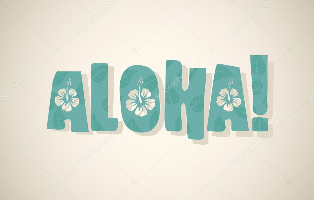 Aloha word in retro colors
