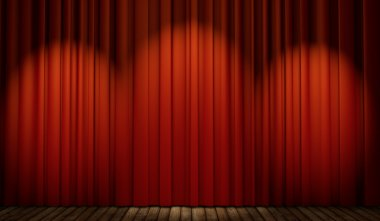 3d stage with red curtain
