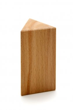 wooden geometric shapes triangular prism isolated on a white