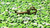 Fotografie klíč na hromádku zelených puzzle