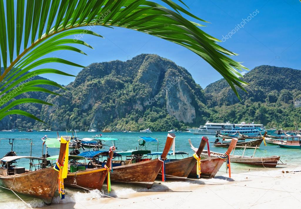 Traditional Thai Longtail boat on the beach of Phi Phi Don