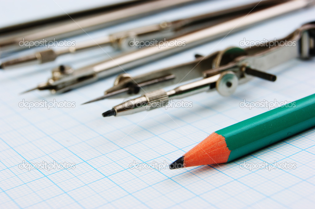 old drawing tools on graph paper stock photo observer 26526403