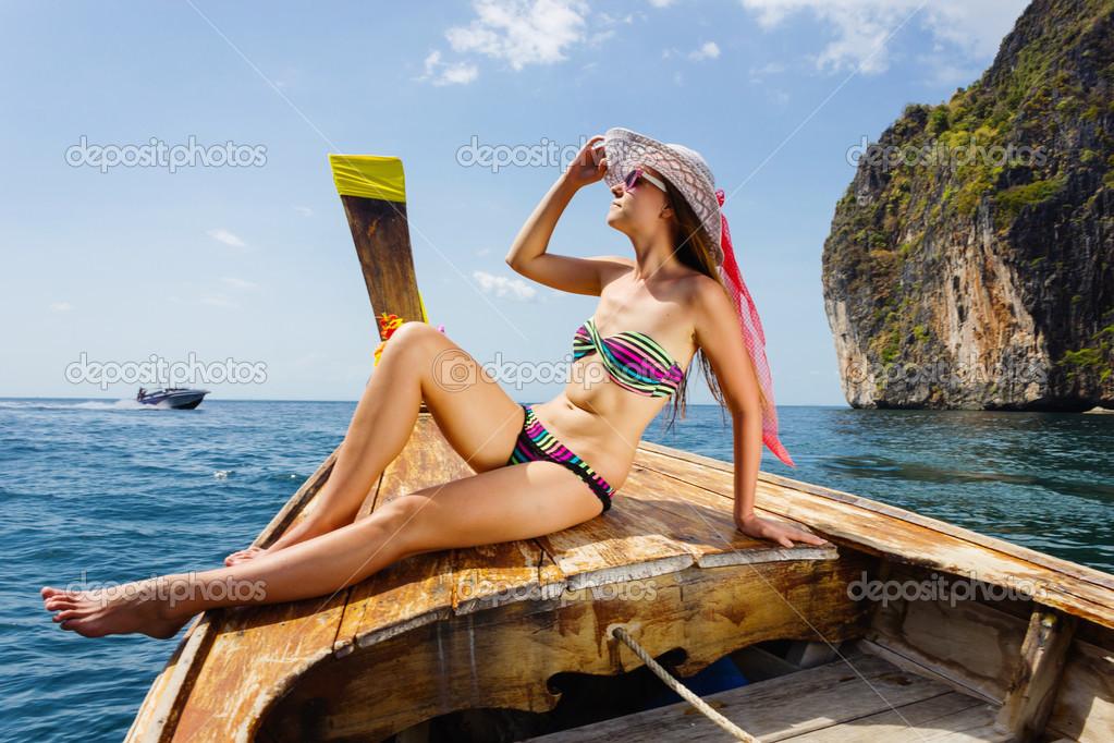 Something bay bikini boat girl swim trip