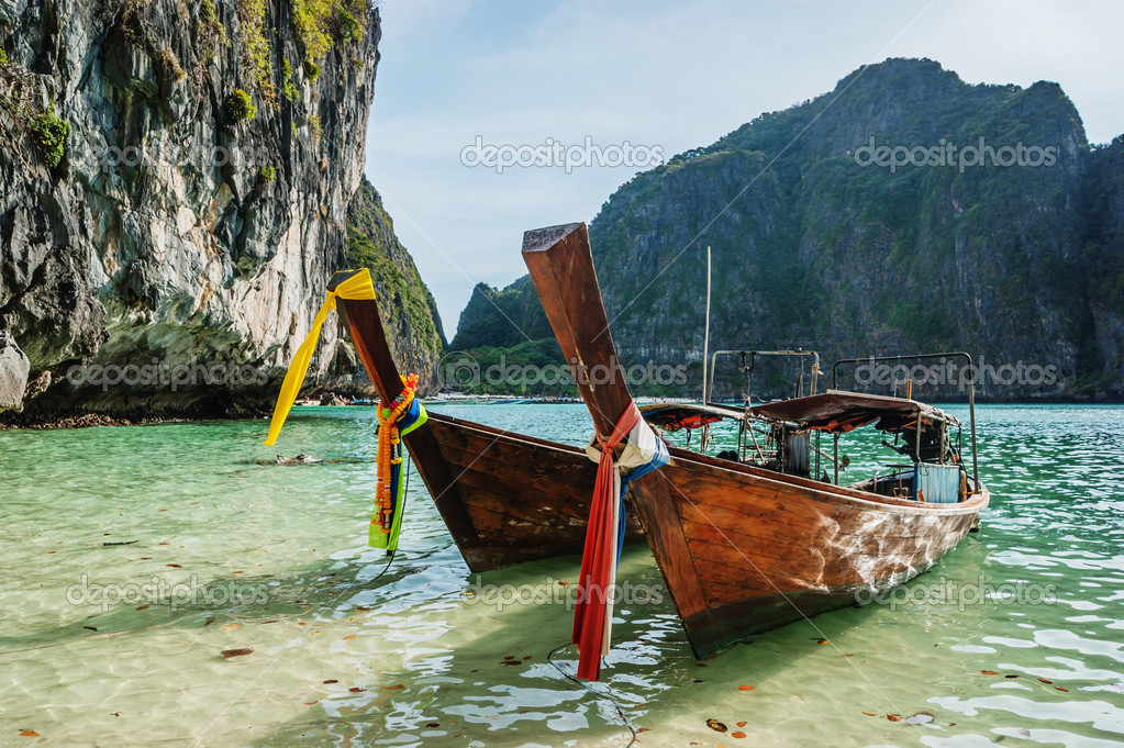 Traditional longtail boats in the famous Maya bay