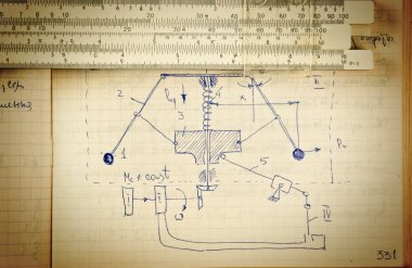 Page of old paper with the calculation of the theoretical mechan