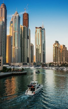 Dubai Marina at sunset. United Arab Emirates