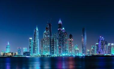 General view of the Dubai Marina at night