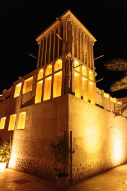Night view of the streets of the old Arab city Dubai UAE