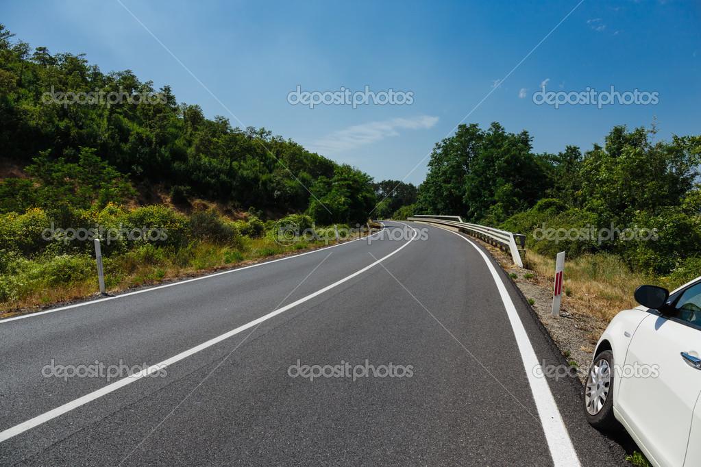 Winding road in hills