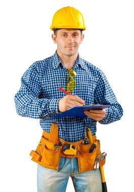 Contractor writing in clipboard stock vector