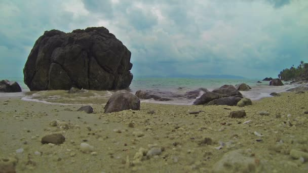 1920x1080 video - Calm sea waves on beach with stones