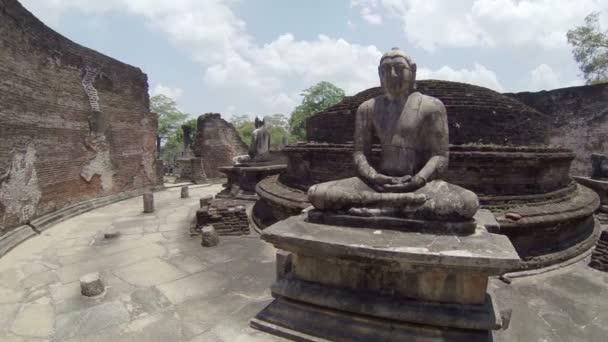 Interior of an abandoned ancient Buddhist temple. Sri Lanka