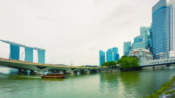 High definition video - Pleasure boat in the river near bridges. Singapore