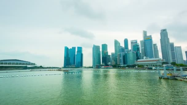 SINGAPORE - CIRCA JAN 2014: Panorama of the bay with skyscrapers and hotel Marina Bay Sands