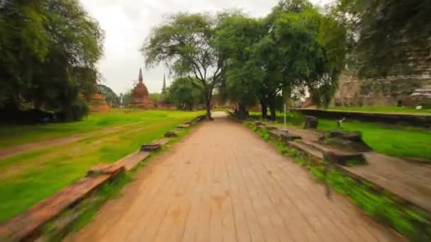 videa 1080p - na cestách kolem zříceniny chrámů. Thajsko ayutthaya