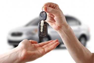 Keys to the car. White background.