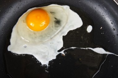 Eggs on black pan