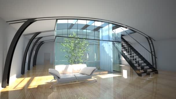 let přes moderní interiér se zahradou