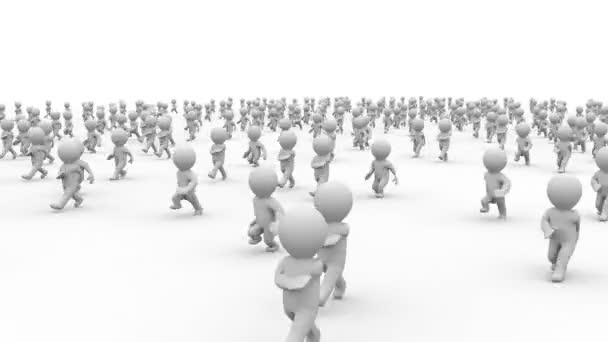krásná bílá dynamické 3d kreslený dav běží