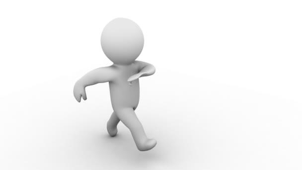 schöne 3d isolierte weiße Karikatur Mensch läuft vor der Kamera