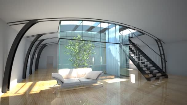Flight throught modern interior with garden