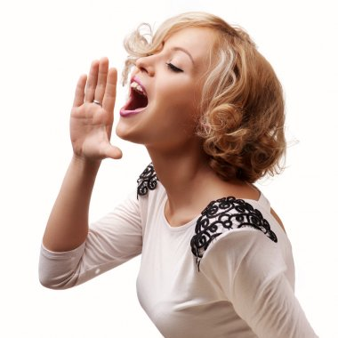 Young blonde woman shout and scream using her hands as tube, studio shoot isolated on white stock vector
