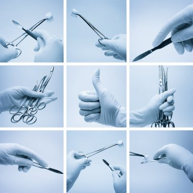 Composition of hands with surgery instruments