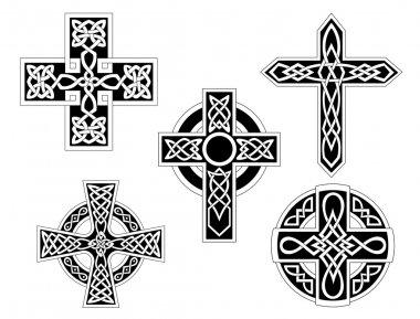 Set of irish celtic crosses. Vector illustration stock vector
