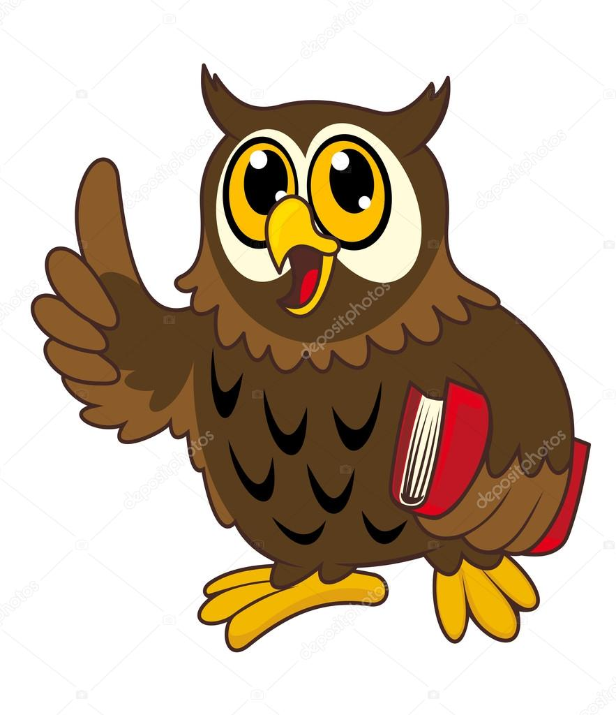 Cartoon owl bird with book — Stock Vector © buchan #14553779